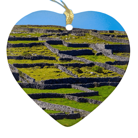 Image of Porcelain Ornament - Stone Walls of the Isle of Inisheer, Aran Islands, County Galway Ornament Moods of Ireland Heart