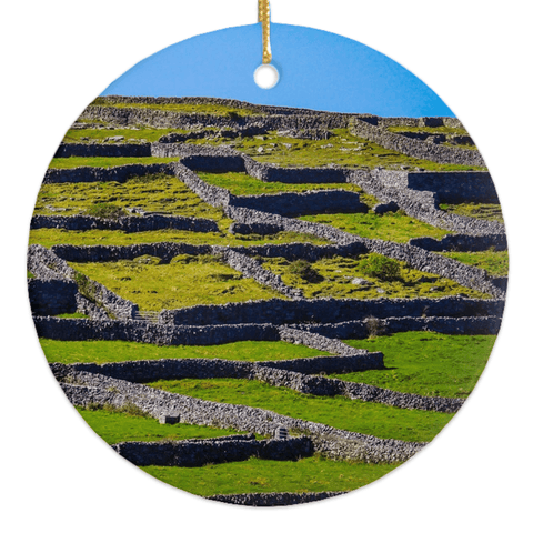 Image of Porcelain Ornament - Stone Walls of the Isle of Inisheer, Aran Islands, County Galway Ornament Moods of Ireland Round