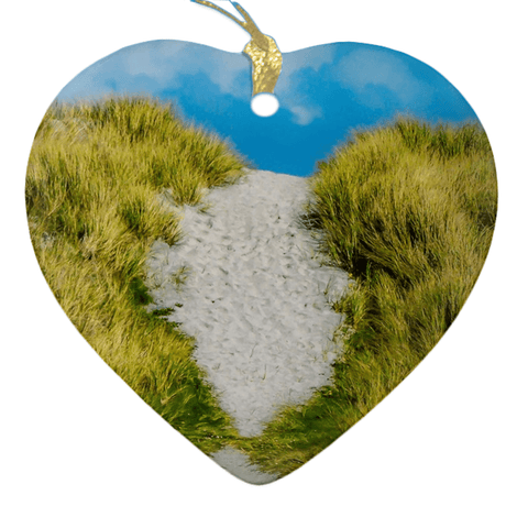 Image of Porcelain Ornament - Beach Path on Inisheer, Aran Islands, County Galway Ornaments Moods of Ireland Heart