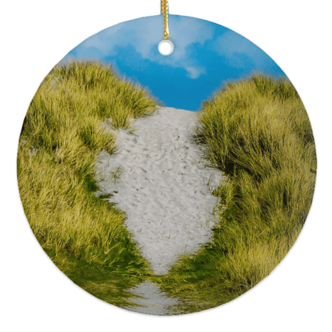 Image of Porcelain Ornament - Beach Path on Inisheer, Aran Islands, County Galway Ornaments Moods of Ireland Round
