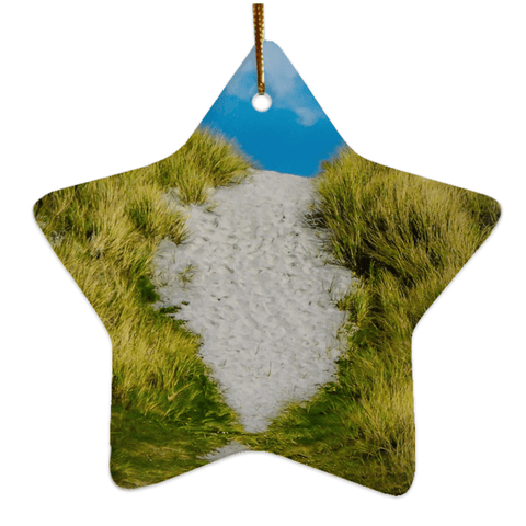 Image of Porcelain Ornament - Beach Path on Inisheer, Aran Islands, County Galway Ornaments Moods of Ireland Star
