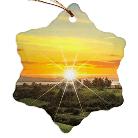Image of Porcelain Ornament - Shannon Estuary Sunrise, County Clare, Ireland Ornament Moods of Ireland Snowflake