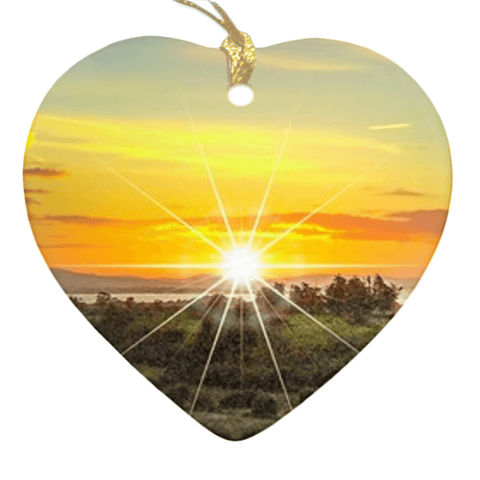 Porcelain Ornament - Shannon Estuary Sunrise, County Clare, Ireland Ornament Moods of Ireland Heart