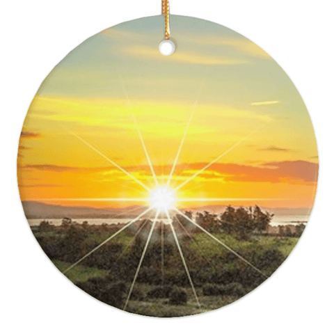 Porcelain Ornament - Shannon Estuary Sunrise, County Clare, Ireland Ornament Moods of Ireland Round