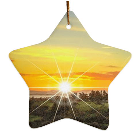 Image of Porcelain Ornament - Shannon Estuary Sunrise, County Clare, Ireland Ornament Moods of Ireland Star