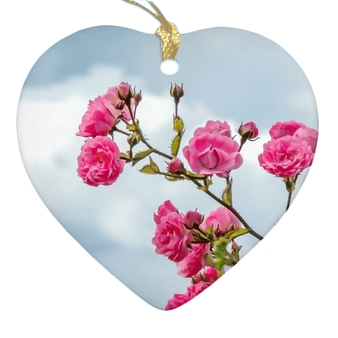 Image of Porcelain Ornament - Wild Irish Roses Ornaments Moods of Ireland Heart