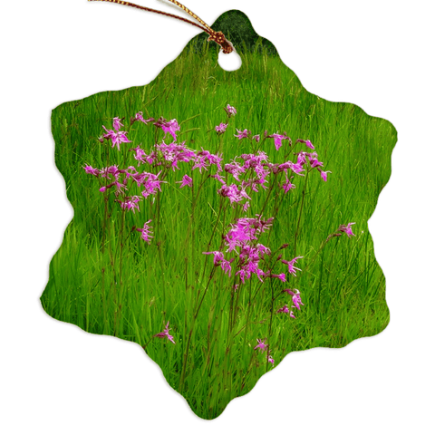 Image of Porcelain Ornament - Ragged Robin in a County Kerry Meadow Ornament Moods of Ireland Snowflake