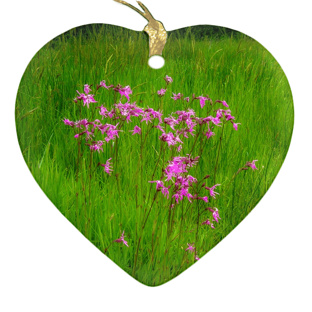 Porcelain Ornament - Ragged Robin in a County Kerry Meadow Ornament Moods of Ireland Heart