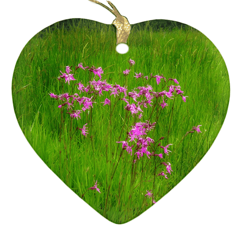 Image of Porcelain Ornament - Ragged Robin in a County Kerry Meadow Ornament Moods of Ireland Heart