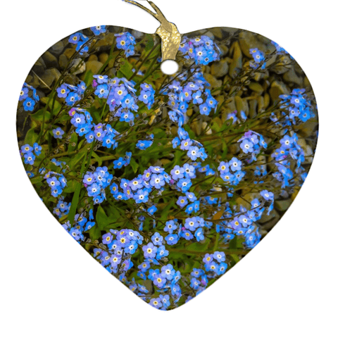 Image of Porcelain Ornament - Forget-Me-Nots Ornament Moods of Ireland Heart