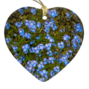 Porcelain Ornament - Forget-Me-Nots Ornament Moods of Ireland Heart