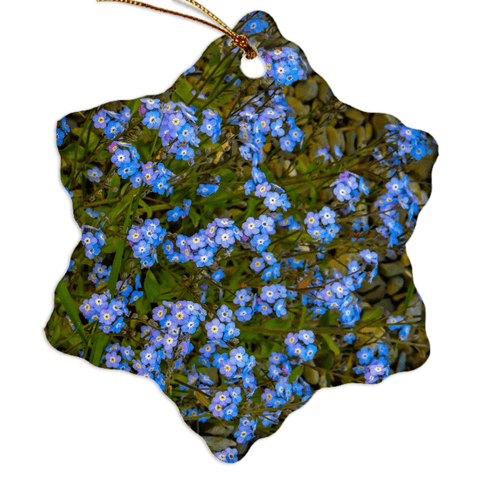 Image of Porcelain Ornament - Forget-Me-Nots Ornament Moods of Ireland Snowflake
