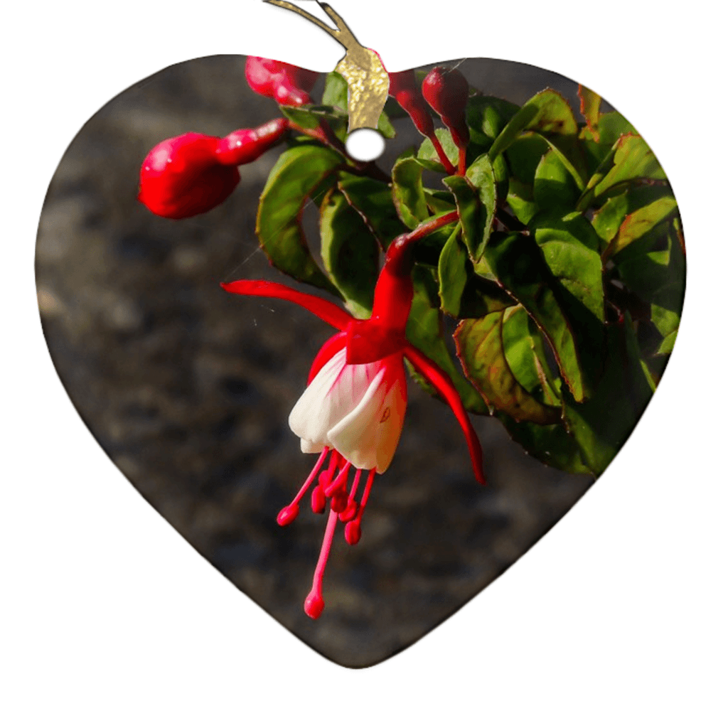 Porcelain Ornament - Fuchsias in the Irish Countryside Ornament Moods of Ireland Heart
