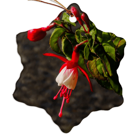 Porcelain Ornament - Fuchsias in the Irish Countryside Ornament Moods of Ireland Snowflake
