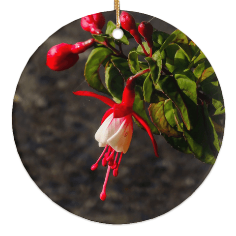 Porcelain Ornament - Fuchsias in the Irish Countryside Ornament Moods of Ireland Round