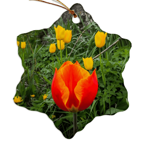 Image of Porcelain Ornament - Tulips Along a County Galway Roadside Ornament Moods of Ireland Snowflake
