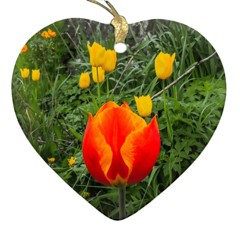 Image of Porcelain Ornament - Tulips Along a County Galway Roadside Ornament Moods of Ireland Heart