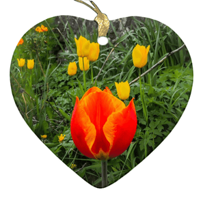 Porcelain Ornament - Tulips Along a County Galway Roadside Ornament Moods of Ireland Heart