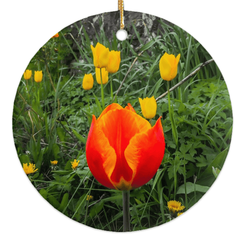 Image of Porcelain Ornament - Tulips Along a County Galway Roadside Ornament Moods of Ireland Round