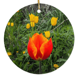 Porcelain Ornament - Tulips Along a County Galway Roadside Ornament Moods of Ireland Round