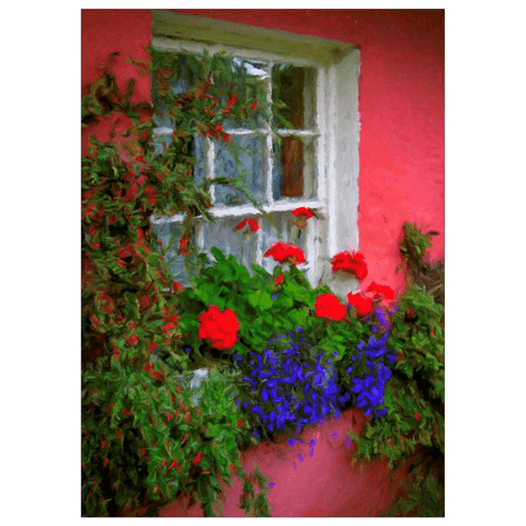 Image of Flat Card - Cottage Window at Bunratty, County Clare Flat Card Moods of Ireland 1 Card
