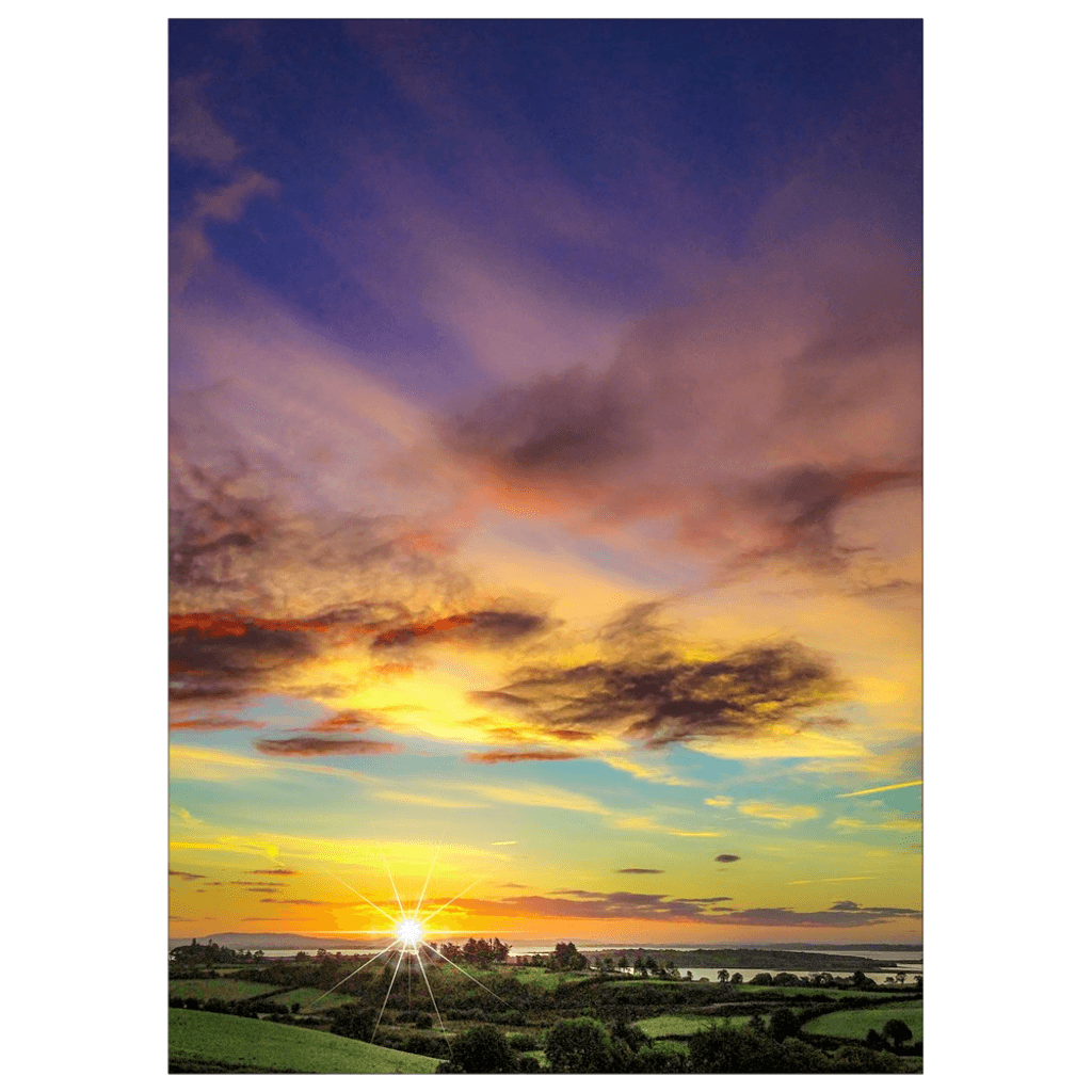 Flat Card - Autumn Sunrise over Shannon Estuary Flat Card Moods of Ireland 25 Cards