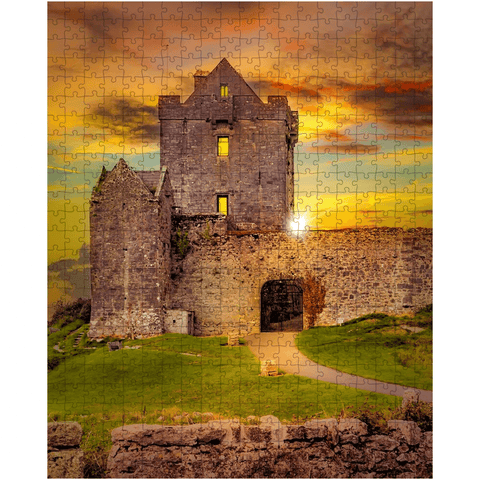 Image of Puzzle - Sunset at Dunguaire Castle, Kinvara, County Galway - James A. Truett - Moods of Ireland - Irish Art