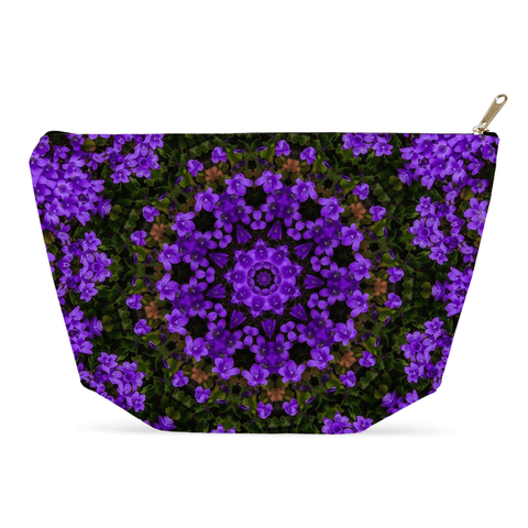 Image of Accessory Pouch - Purple Paradise Accessory Pouch Moods of Ireland 12.5x7 inch w/ Gold Zipper Pull and Black Zipper Tape