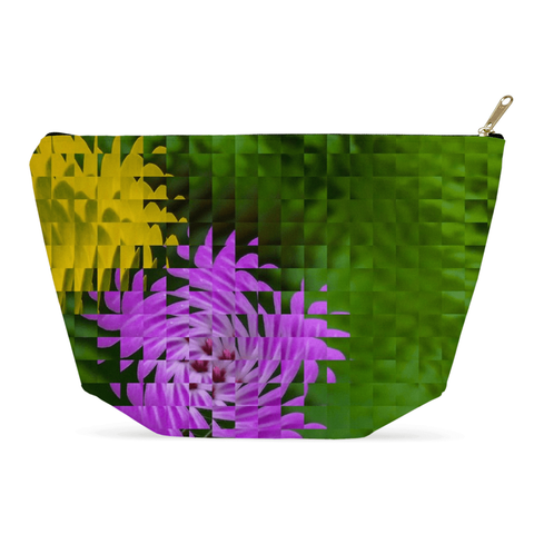 Accessory Pouch - Irish Wildflowers Accessory Pouch Moods of Ireland 12.5x7 inch w/ Gold Zipper Pull and Black Zipper Tape