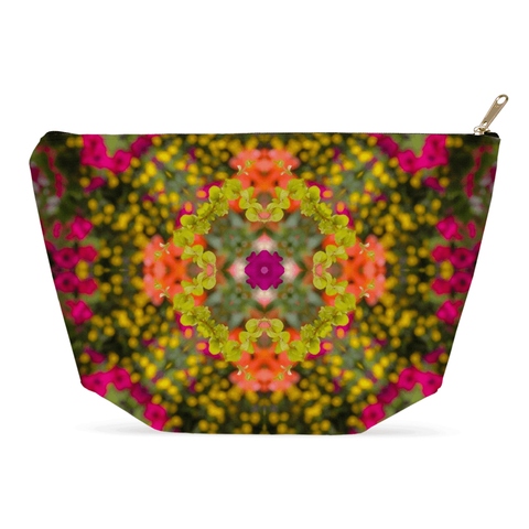 Image of Accessory Pouch - Irish Kaleidoscope Accessory Pouch Moods of Ireland 12.5x7 inch w/ Gold Zipper Pull and Black Zipper Tape