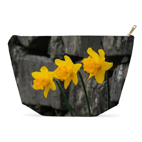 Image of Accessory Pouch - Aunt DJ's Daffodils Accessory Pouch Moods of Ireland 12.5x7 inch w/ Gold Zipper Pull and Black Zipper Tape