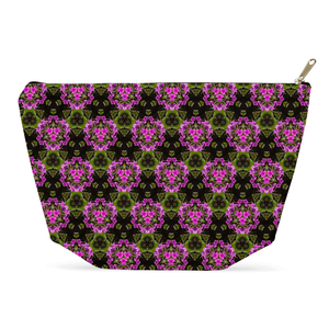 Accessory Pouch - Herb Robert Bouquet Accessory Pouch Moods of Ireland 12.5x7 inch w/ Gold Zipper Pull and Black Zipper Tape