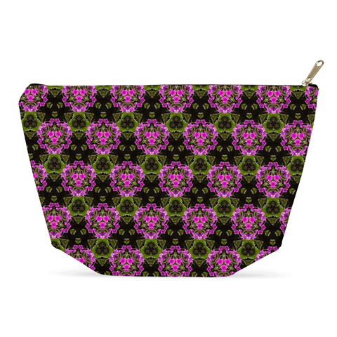 Image of Accessory Pouch - Herb Robert Bouquet Accessory Pouch Moods of Ireland 12.5x7 inch w/ Gold Zipper Pull and Black Zipper Tape