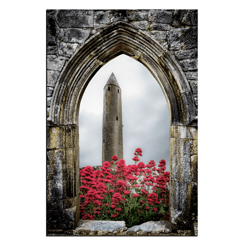 Image of Canvas Wrap - Kilmacduagh Round Tower in Summer, County Galway - James A. Truett - Moods of Ireland - Irish Art