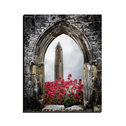 Image of Canvas Wraps - Kilmacduagh Round Tower in Summer, County Galway, Ireland Canvas Wrap Moods of Ireland 8x10 inch