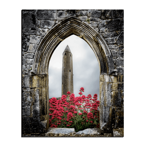Image of Canvas Wraps - Kilmacduagh Round Tower in Summer, County Galway, Ireland Canvas Wrap Moods of Ireland 16x20 inch