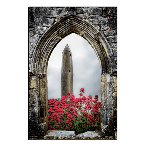 Image of Canvas Wraps - Kilmacduagh Round Tower in Summer, County Galway, Ireland Canvas Wrap Moods of Ireland 20x30 inch