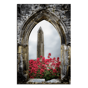 Canvas Wraps - Kilmacduagh Round Tower in Summer, County Galway, Ireland Canvas Wrap Moods of Ireland 20x30 inch