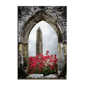 Canvas Wraps - Kilmacduagh Round Tower in Summer, County Galway, Ireland Canvas Wrap Moods of Ireland 12x18 inch