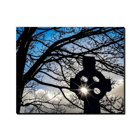 Canvas Wraps - Sun Shining through Celtic Cross Famine Monument, County Clare, Ireland