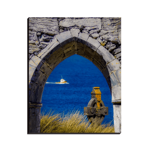 Image of Canvas Wrap - Celtic Cross & Fishing Vessel from Isle of Inisheer, Aran Islands, County Galway - James A. Truett - Moods of Ireland - Irish Art