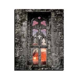 Canvas Wrap - Clare Abbey Window at Sunrise, Ennis, County Clare - James A. Truett - Moods of Ireland - Irish Art