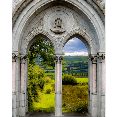 Poster Print - County Clare meadow through Gothic Revival Church Arches Poster Print Moods of Ireland 8x10 inch