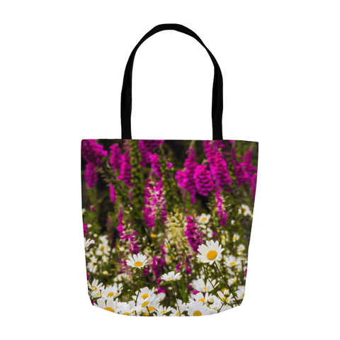 Tote Bags - Wild Irish Daisies and Foxglove Tote Bag Moods of Ireland 13x13 inch