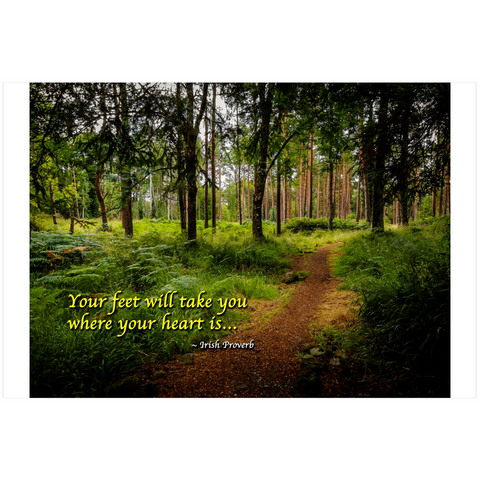 "Poster Print - ""Your Feet Will Take You Where Your Heart Is"" Irish Proverb Poster Moods of Ireland 24x36"