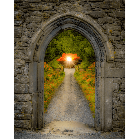 Image of Poster Print - Montbretia-lined Portal to Irish Paradise Poster Print Moods of Ireland 8x10 inch