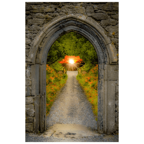 Image of Poster Print - Montbretia-lined Portal to Irish Paradise Poster Print Moods of Ireland 12x18 inch