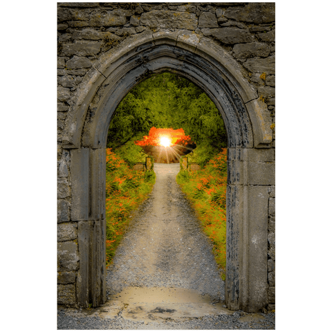 Image of Poster Print - Montbretia-lined Portal to Irish Paradise Poster Print Moods of Ireland 24x36 inch