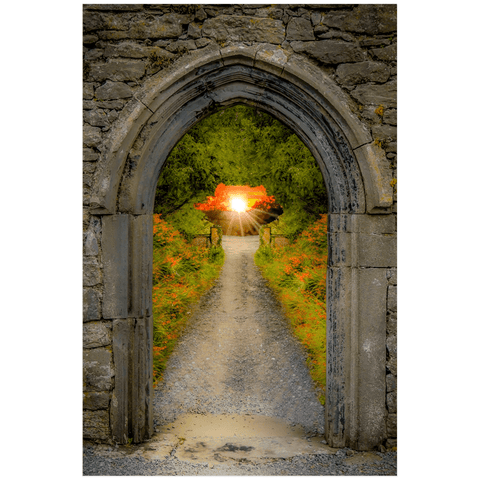 Image of Poster Print - Montbretia-lined Portal to Irish Paradise Poster Print Moods of Ireland 20x30 inch