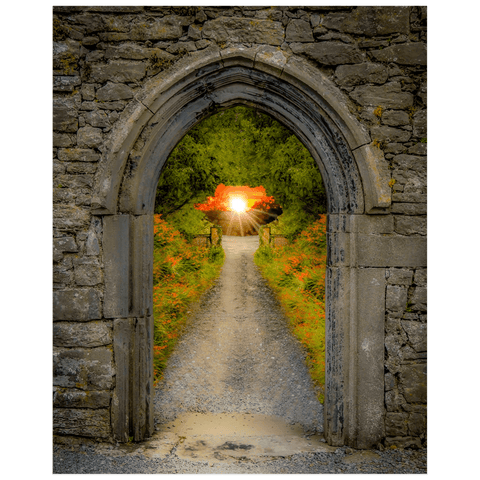 Image of Poster Print - Montbretia-lined Portal to Irish Paradise Poster Print Moods of Ireland 16x20 inch